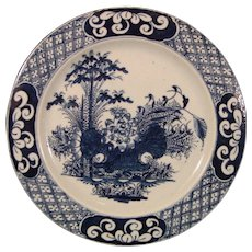 C.1760 Antique Bow Hand-Painted Chinoiseries Plate of Soft-Paste Porcelain Decorated with Bamboo and Lotus