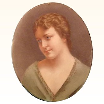 Hand Painted Oval Portrait Plaque of a Woman, Early 20th Century.