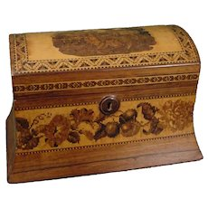 Tunbridgeware Inlaid Letter or Stationery Box with Deer and Bands of Fruit 19thc. Tunbridge