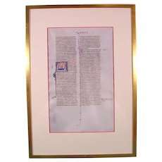 French Medieval Illuminated Vellum Bible Manuscript Leaf, Judith Saving Israel C1250.