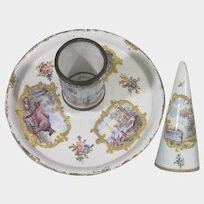 C.1765 Bilston Enamel Chamber Candlestick & Original Snuffer Birmingham