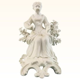 Early Derby Biscuit Porcelain Figure of Spring from the Adolescent Four Seasons c.1765.