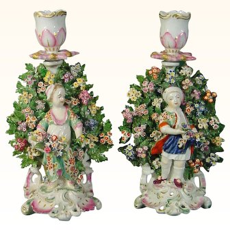 Derby Figure Pair, Young Gardeners with Bocage c.1770.