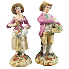 Antique Staffordshire Figure Pair Man and Woman Streetsellers c.1850.
