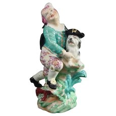Antique Derby Porcelain Figure of a Boy and His Dog in Human Clothing c.1790.