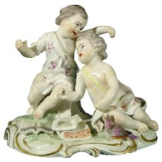 Frankenthal 18thc German Antique Figure of Two Chinese Boy Musicians c.1775.