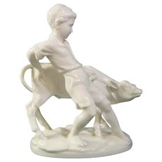 Antique German Porcelain Figure of a Boy Leading a Calf—Who's Winning this Contest?