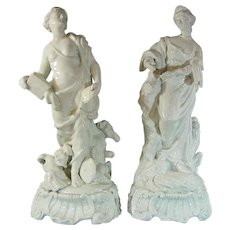 Rare Plymouth Porcelain 18th Century Pair of Continent Figures, Europe and Asia c.1770.