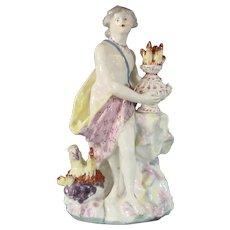18thc Bow Porcelain Figure of the Greek God Vulcan, or Fire from the Set of the Four Elements c.1760.
