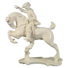 Nymphenburg Figure of a Hunter & Horse 20thc.