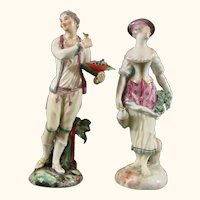 Antique Ludwigsburg Figures of a Man and Woman Gardening c.1775.