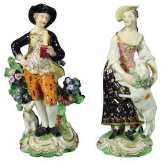 Derby (Bloor Period) Figure Pair of the Garland Shepherd Lovers c.1815.