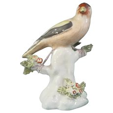 Staffordshire Goldfinch Pottery Figure, Bird on a Tree Trunk c.1770, in the Style of Derby