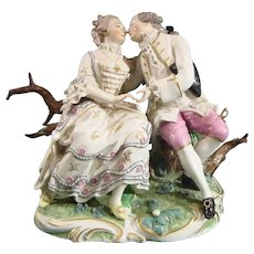 Antique Frankenthal Porcelain Figure Group: Harmony in Marriage c.1766.