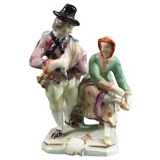 C.1765 Adam Bauer Ludwigsburg Porcelain Figure Group of a Pair of Ice-Skaters,