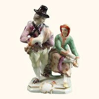 C.1765 Ludwigsburg Adam Bauer Porcelain Figure Group of a Pair of Ice-Skaters,