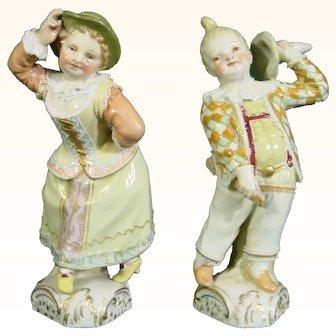 KPM Berlin Italian Comedy Porcelain Figures of Harlequin and Columbine c.1885.