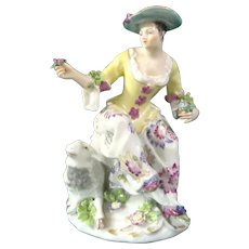 Sitzendorf Figure of a Seated Maiden in Meissen Style, Late 19th century.