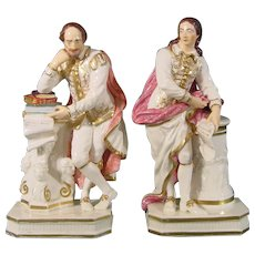 Bloor Derby Early 19th Century Figure Pair: Milton and Shakespeare.