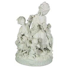 18thc Meissen Biscuit Figure, The Broken Eggs by Acier, c1790, Antique Porcelain Marcolini Bisque
