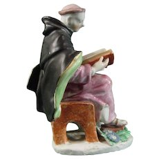 Bow Porcelain Figure of a Monk Reading the Lord's Prayer C.1755