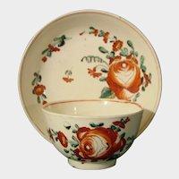 Antique Creamware Teabowl & Saucer, Van Horn Moode Wedding China, Bucks County Dated 1776.
