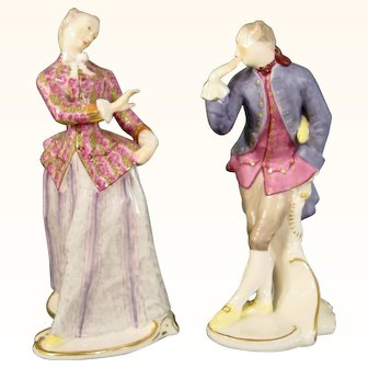 Nymphenburg Figures of Julia and Octavio from the Italian Comedy by Bustelli.