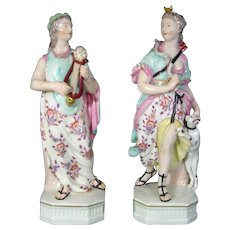 Pair of Derby Figures of Apollo with His Lyre and Diana with Her Bow c.1780.
