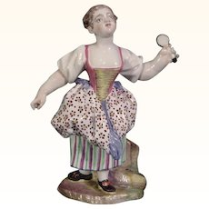 18thc. Doccia Antique Porcelain Figurine of a Woman in a Colorful Dress