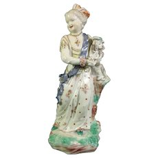 Bristol Figure of a Girl Holding a Puppy C.1774