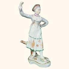 Ludwigsburg 18th-Century Porcelain Figure of a Woman Dancer C.1770.