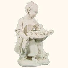 """Sevres Biscuit Figure """"La Petite Fille au Tablier"""" c.1765."""