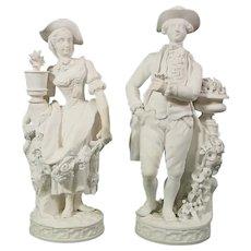 Minton Pair of Gardener Figures C.1830 in Biscuit or Parian Victorian Porcelain.