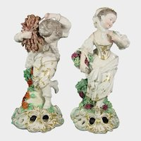 Two Large-Size French Figures after the Derby Four Seasons: Winter and Autumn  Antique Porcelain C1880.