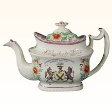 Staffordshire Teapot Dedicated to Charles O'Neal Dated 1829