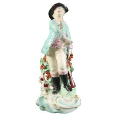 Chelsea (or Chelsea-Derby) Antique Porcelain Figure of a Hunter and His Trusty Dog c.1765