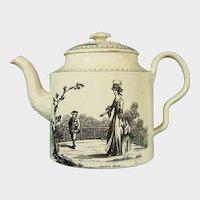 Melbourne Creamware Teapot with Black Transfers C.1775.