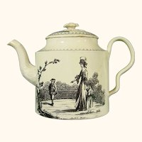 Melbourne Creamware Teapot with Black Transfers C.1775.