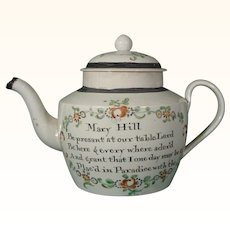 Mary Hill's Staffordshire Pearlware Teapot with Christian Prayers.