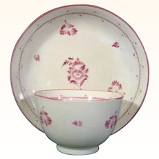 English Pearlware Teabowl and Saucer with Puce Monochrome Decoration of Flower Sprigs c.1790.