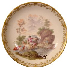 Capodimonte Saucer from a Royal Tea Service by Caselli c.1745 with Mythological Battle Scene.