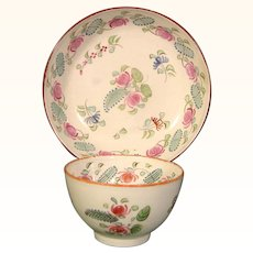 Sweet Handleless Pearlware Antique Teabowl and Saucer from England c.1795.