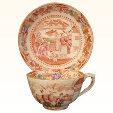 Early 19th-Century Staffordshire Cup and Saucer with Chinoiseries Scene c.1820.