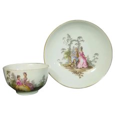 Meissen Cup & Saucer in Watteau Style, 18th century.