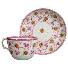 Luscious Staffordshire Strawberry Luster Cup and Saucer C.1830.