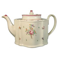 New Hall Pattern 267 Silver Shape Teapot C.1800.