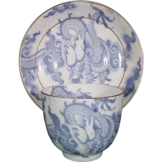 Blue Chinese Dragon Cup & Saucer Unknown Maker C.1825 Chinoiseries Transfer Staffordshire Porcelain