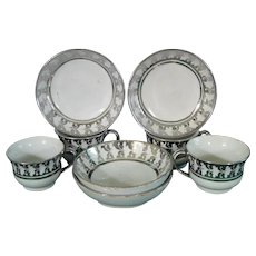 Four Staffordshire Pearlware Silver Luster Miniature Toy Cups and Saucers, c.1825.