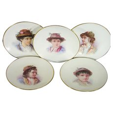 Ten Limoges-Type Late 19th Century French Porcelain Portrait Plates of Young Country Folk