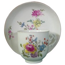 18thc. Meissen Coffee Cup and Saucer with Exquisite Flowers